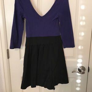 Express Purple/Black 3/4 Sleeve Dress